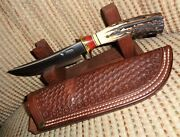 Jim Behring Custom Knife Compass ,treeman Stamp , Pinned Stag ,,riveted Sheath