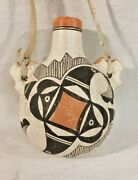 Antique Acoma Pueblo Indian Polychrome Pottery Canteen Stylized Hummingbirds