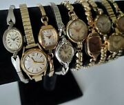 Lot Of 9 Vintage Ladies Mechanical Swiss Watches Running For Parts Gold Filled