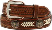 3d Western Mens Belt Leather Tooled Calf Hair Copper Cross Concho D100011608