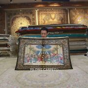 Yilong 3and039x4and039 Last Supper Handknotted Silk Tapestry Home Indoor Rug Carpet Z304a