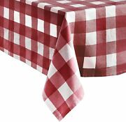 Erlene Home Fashion Farmhouse Check Fabric Tablecloth 52 X 70 Red/white Oblong