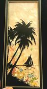 Vintage Milkweed Reverse Painted Silhouette Palm Trees Boat Scenic Picture