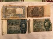 4 Pieces Ww2 Currency. Francs And Germany.