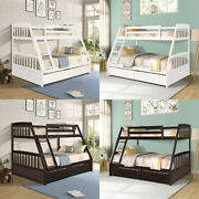Solid Wood Twin Over Full Bunk Bed With Two Storage Drawers Removable Ladder