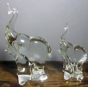 Set Of 2 Lead Crystal Elephant Figurines Made In Sweden