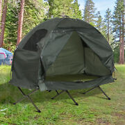 Outdoor 1-person Folding Sleeping Bag Camping Tent Elevated Cot W/air Mattress