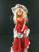 Ooak Barbie Size Doll In Crochet Handmade Red Victorian Gown Ensemble Lace Bows