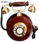 Reproduction Wooden Retro Telephone Rotary Dial Mechanical Bell Wall Mount Round