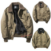 Menand039s Winter Thick Loose Fleece Work Jacket Cotton Outwear Army Military Tops