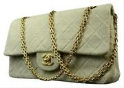 Beige Greige Quilted Grey Classic Double Flap 215857