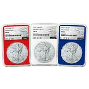 2021 1 Type 1 American Silver Eagle Ngc 3pc. Set Ms69 Als Label Red White Blue