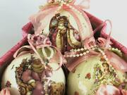 Shabby Vintage 1999 Victorian Christmas Tree Pink Ornaments By Dillard's