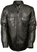 Mens Motorcycle Casual Light Weight Full Sleeve Leather Shirt With Snap Buttons