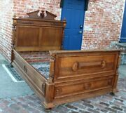 French Antique Carved Oak Henry Ii Extra Length Full Size Bed