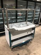 48 4ft Steam Table Natural Gas 3 Full Size Pans W/ Sneeze Guard - Nsf Approved