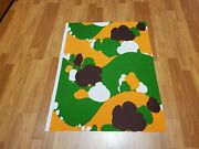 Awesome Rare Vintage Mid Century Retro 70s 60s Org Grn Tree Hills Fabric Look