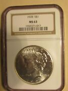 1928 Ngc Ms-63 Silver Peace Dollar