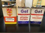 New Vintage 1979 Tin Spices Lot Of 3x 16 Oz. Cans - Allspice - Garlic - Paprika