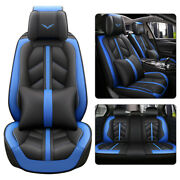 Blue Thicken Pu Leather Car Seat Cover Cushion 5-seat Accessories Universal Set