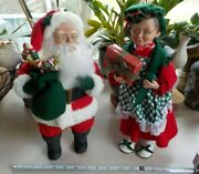 Santa And Mrs. Claus 14 Inch Stuffed Posable Figures Holiday Creations Euc 1994