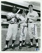 Beckett Signed Al Kaline Leon Wagner Albie Pearson Tigers Angels 8x10 Autograph