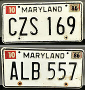 Lot Of 2 Vintage 1980s Maryland Automobile License Plates