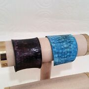Stephan And Co Hammered Purple And Blue Cuff Bracelet Set Of 2