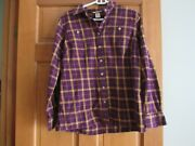 Duluth Trading Company Womens M Flannel Shirt Long Sleeves 2 Pockets Plum And Gold