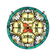 20 Rounds Flowers And Dragonflys Stained Style Glass Window Panel