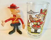 Arby's Dudley Do-right Beverage Drinking Glass And Wham-o Rubber Poseable Dudley