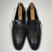 Moreschi Black Pin Dot Monk Strap Dress Shoes Made In Italy, Size 9 M
