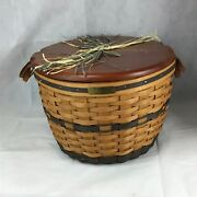 Longaberger 1991 Corn Basket Combo In Original Box With Lid And Protector
