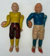 1940 - 1950s Occupied Japan Hand Painted Celluloid Football Players. Set Of 2