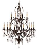 Feiss F2229/8+4ats Salon Ma Maison 2-tier Chandelier 1 Light Aged Tortoise