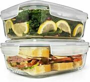 6.5 Cups/ 52 Oz 4 Piece 2 Containers + 2 Lids Large Glass Food Storage 42.99