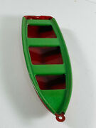 Vintage 50's Japan Tin Toy Boat Nice Green Red