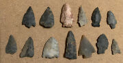 Lot Of 13 Vtg Tennessee Valley Arrowheads Artifacts Collection Relics Antiques