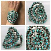 Big Signed Native American Zuni Sterling Silver Turquoise Beaded Cuff Bracelet