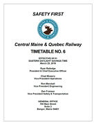 Central Maine And Quebec Employee Timetable 6 Mar 25 2019 Ett Cmandq Reprint