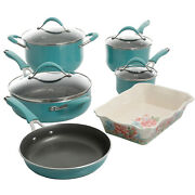 The Pioneer Woman Frontier Speckle 10-piece Cookware Set, Turquoise