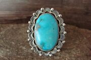 Navajo Indian Jewelry Sterling Silver Turquoise Ring Size 6.5 - Delgarito