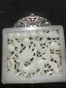 Antique Chinese White Hetian Carved Deer Pendant Large 124g