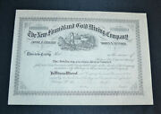 The New Foundland Gold Mining Company 1800's Antique Stock Certificate