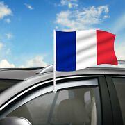 France Car Flag 18 X 12 Country Car Window Clip On Flag Graphic+hardware