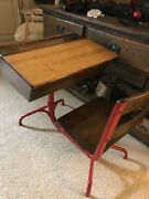 Antique Wood Cast Iron School Desk And Swivel Chair W Storage Adjustable Ink Well