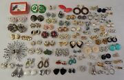 Vintage Clip Earring Estate Costume Jewelry Lot 80 Pair - Chunky Signed Retro