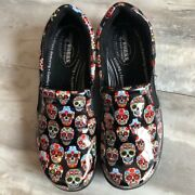 New Easy Works Bind Shoe Skull Day Of The Dead Patent Leather Comfort Clog 7.5