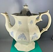 Antique 1830and039s G.phillips Longport Pearl Ironstone China Blue Sprigs Teapot Rare