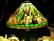 Vintage Style Desk Lamp Handcrafted Authentic Stained Glass Floral Lamp